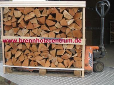 Brennholz trocken, Buche 25 cm länge auf Palette gestapelt.